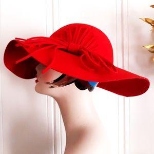 Vintage Cherry Red Floppy Cloche Statement Hat